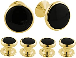 product image for David Donahue Men's Yellow Brass Onyx Flat Back Stud Cufflinks (SS854909)