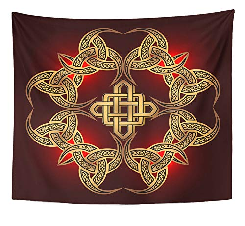 Emvency Tapestry Artwork Wall Hanging Air Golden Ancient Pagan Scandinavian Sacred Symbol and of The Druids Amulet Border 50x60 Inches Tapestries Mattress Tablecloth Curtain Home Decor Print ()