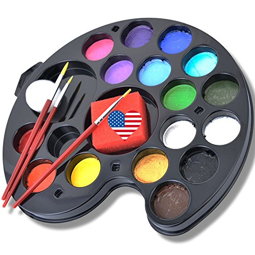 Ava and Frank 16 Color Non-Toxic Face Painting Kit, Body Paint Palette Set, 3 Brushes, 2 Sponges eBook for