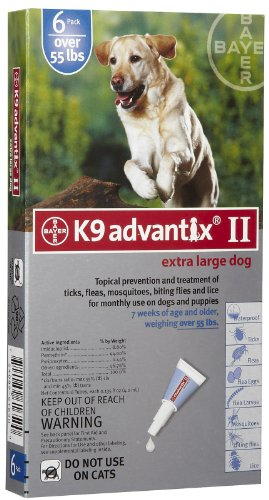 Advantix II K9 Blue - 6-Month Treatment for Extra Large Dogs Over 55 lbs -- 6 Tubes by K9 Advantix II (K9 Advantix Ii For Dogs 6 Month Supply)