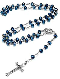 8mm-10MM Blue Crystal Beads Catholic Rosary Necklace Crucifix Cross Pendant,30 Inch