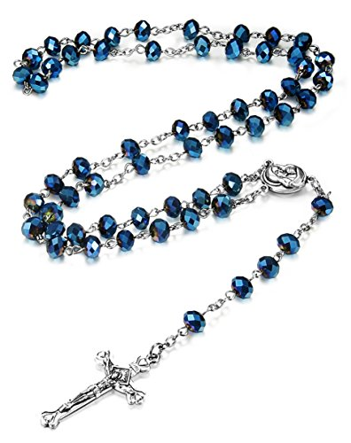 LOYALLOOK 10mm Blue Crystal Beads Catholic Rosary Necklace Crucifix Cross Pendant,30 (Crystal Rosary Cross)