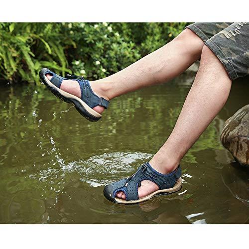 regolabili sandali in uomo sandali Sandali ciabattine da Blue pelle traspiranti traspiranti estive Fgvnfqw
