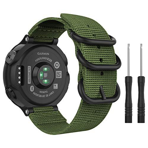 MoKo Watch Band for Garmin Forerunner 235, Fine Woven Nylon Adjustable Replacement Strap for Garmin Forerunner 235/235 Lite / 220/230 / 620/630 / 735XT Smart Band - Army Green