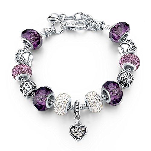 Silver Plated Snake Chain Charm Bracelets Crystal Beads Bracelet for Women