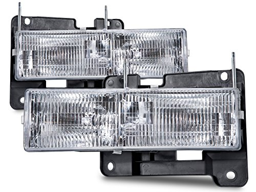 (HEADLIGHTSDEPOT Chrome Housing Halogen Headlights Compatible with Chevrolet GMC Blazer C/K 1500 2500 3500 Suburban Tahoe Yukon Denali Includes Driver and Passenger Side Headlamps Comes with Bulbs)