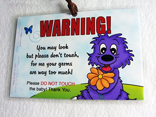 2 PACK: Don't Touch the Baby, 6 x 4 inch Laminated Car Seat Tag by Cold Snap Studio, THE SEACATS, RAINY - HANDMADE in the USA!