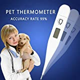 Pet Thermometer,KOBWA White Fast Reading Digital Thermometer with Flexible Tip and Fever Body Temperature Indicator for Cat Dogs