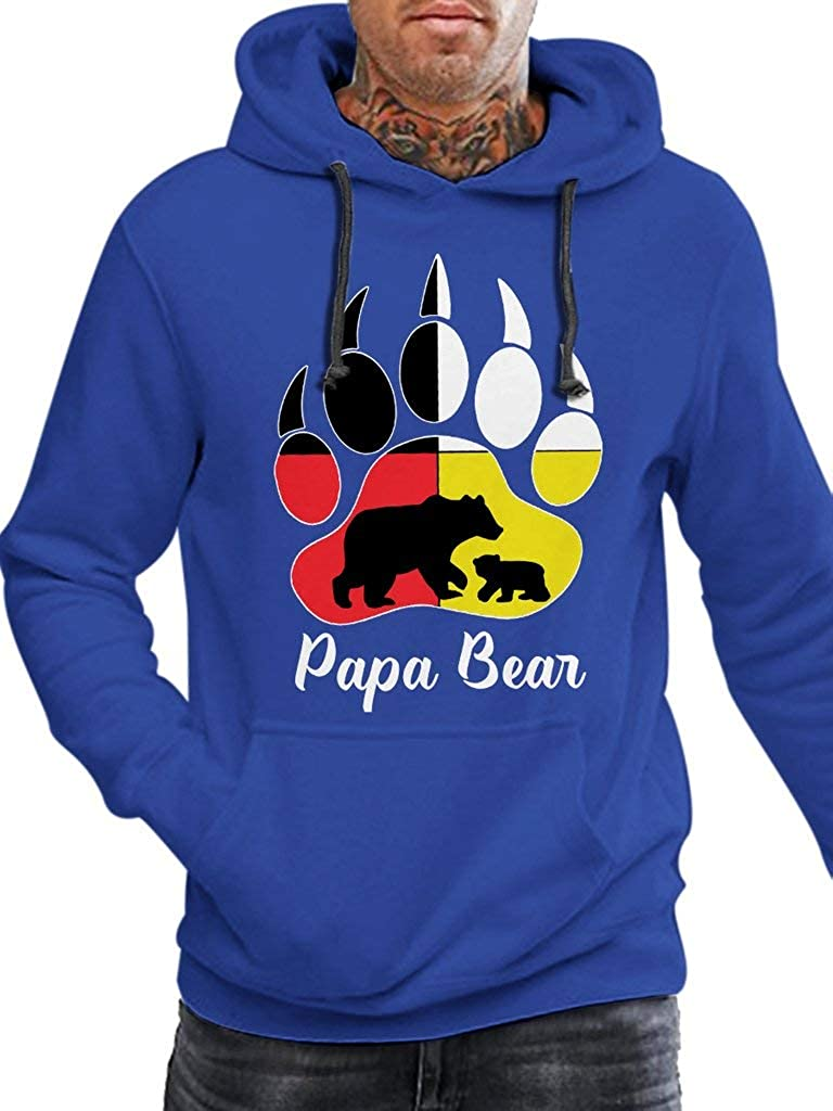 SMLBOO Papa Bear Native Funny Vintage Trending Awesome Shirt for American Native Father Unisex Style Hoodie