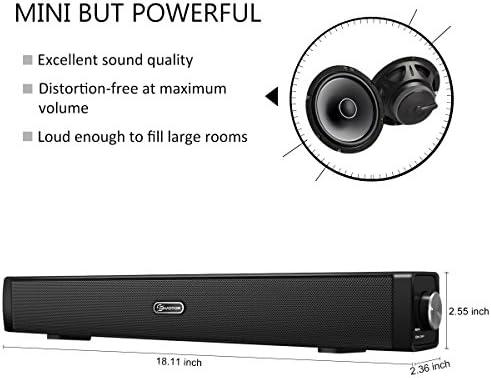 Barra de Sonido para TV, EIVOTOR PC Mini Altavoces USB Portatil para Ordenador Sobremesa Laptop Smartphone Tablet MP3 MP4 (Estéreo Dual 3D (2x3W), USB, 3.5 mm), Negro (Negro): Amazon.es: Electrónica