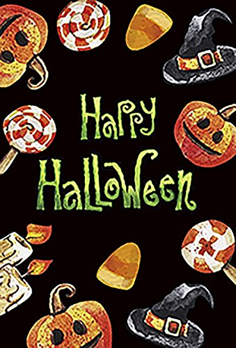 Morigins Happy Halloween Decorative Flag Pumpkins and Candy Double Sided Outdoor Yard Flag 28x40 -