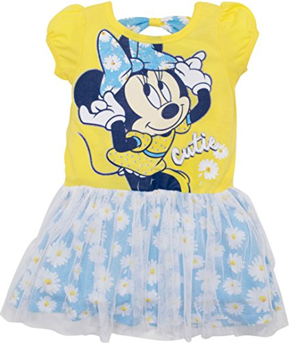 Cut Daisy Out (Disney Little Girls' Minnie Mouse Tulle Dress (Yellow Daisy, 3T))