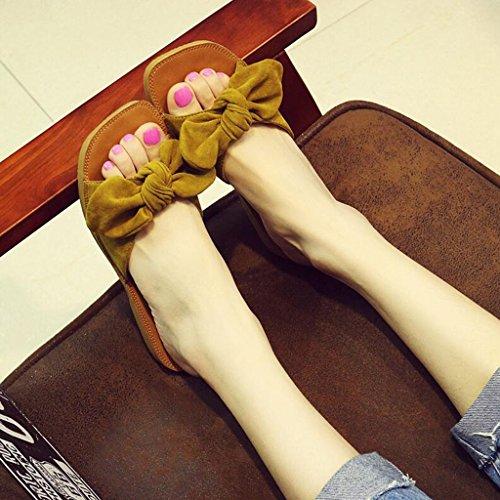 Air Jaune Femmes Xy® Et Bow Enceintes Tendon Pantoufles Le en Plate Mou Plein Sandales Été Chaussures Pantoufles Mot Glisser Sandales Femmes Plage Femmes Mode Fond 00HxrpSq