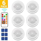 Wireless LED Closet Lights, RGB Color Changing Puck Light with Remote Control, Touch Sensor LED Night Light, Battery Operated Under Cabinet Light - 6 Pack (18 PCS Battery Included)