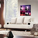 Creative-Art-Canvas-Print-Wall-Art-Tropical-Sunset-Beach-With-Coconut-Palm-Tree-Picture-4-Pieces-Surfing-in-Sea-Modern-Giclee-Framed-Artwork-Seascape-Pictures-Photo-Prints-On-Canvas