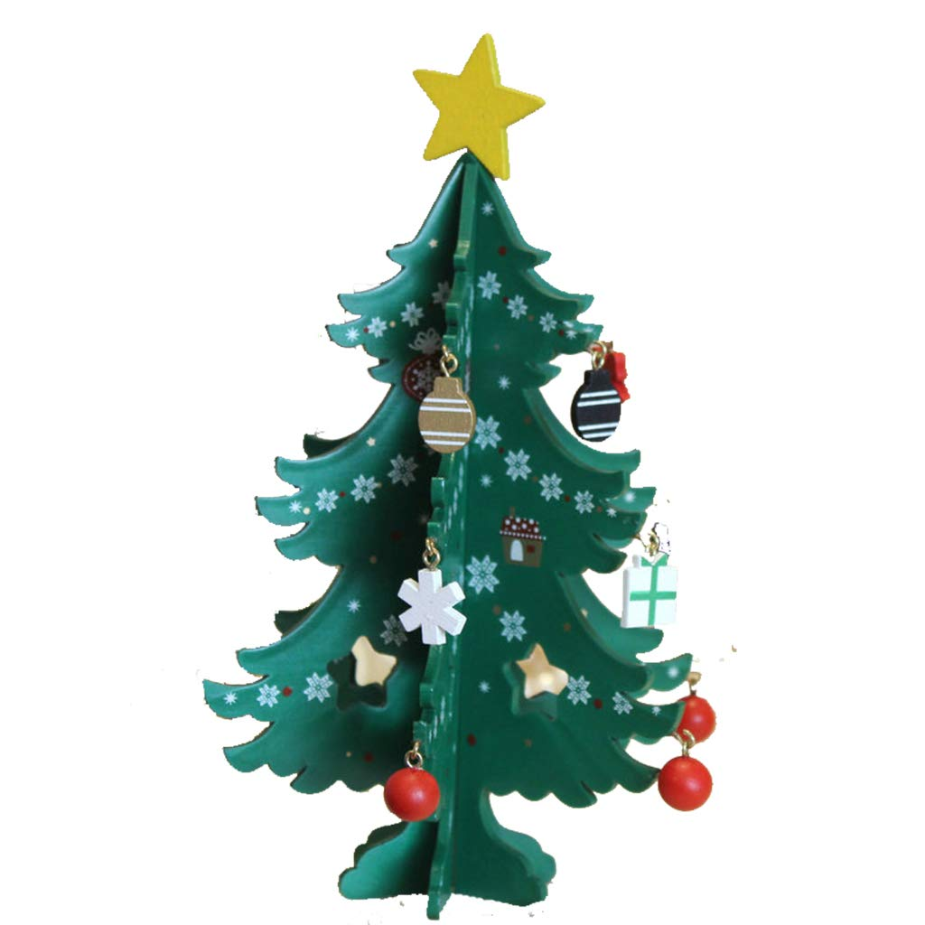 Creative Wood Christmas Tree Decoration DIY Holiday Gift Wooden Craft Decoration 6 Piece Christmas Tree Desktop Decoration