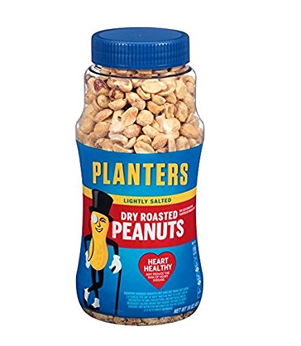 Dry Roasted Peanuts - Planters Lightly Salted Dry Roasted Peanuts , 16 ounce (Pack of 4)