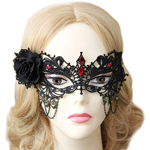 Lace Masquerade Mask for Women -Ladies' Eye Black Mask for Halloween Party Fancy Dress Ball Prom Costume (MJ36)