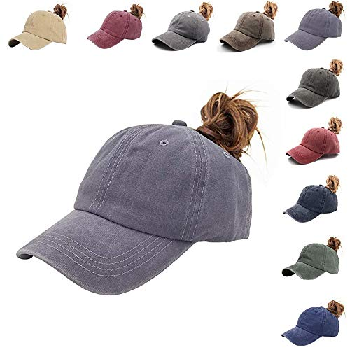 (NeuFashion Ponytail Unconstructed Distressed Washed Dad Hat Messy High Bun Ponycaps Plain Baseball Cap (Jean Gray))