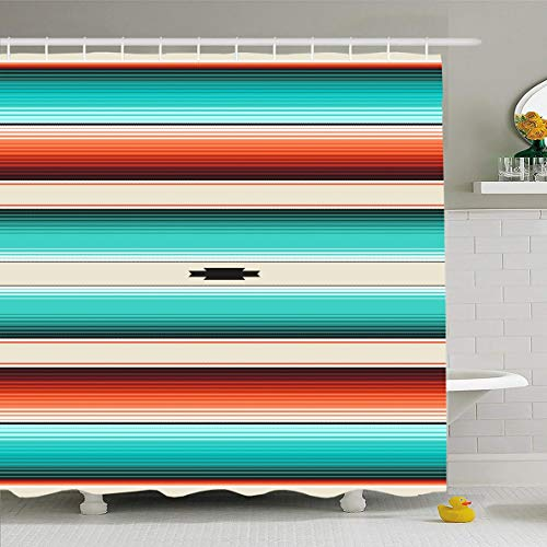 Pattern Navajo - Ahawoso Shower Curtain 66x72 Inches Aztec Teal Pattern Turquoise Orange Navajo White Stripes Burgundy Serape Mexican Ombre Boho Lines Waterproof Polyester Fabric Bathroom Curtains Set with Hooks