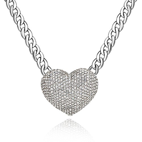 Qiji Women's Statement Sparkly Heart Necklace Blingbling Rhinestone Chunky Chain Necklace Punk Rock Style Costume Jewelry (Silver)