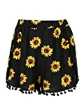 CR Women's Black Sunflower Print High Waist Pom Poms Shorts,Large
