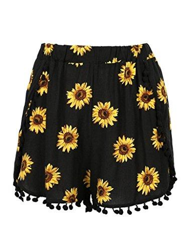 CR Women's Black Sunflower Print High Waist Pom Poms Shorts,Large by CHARLES RICHARDS