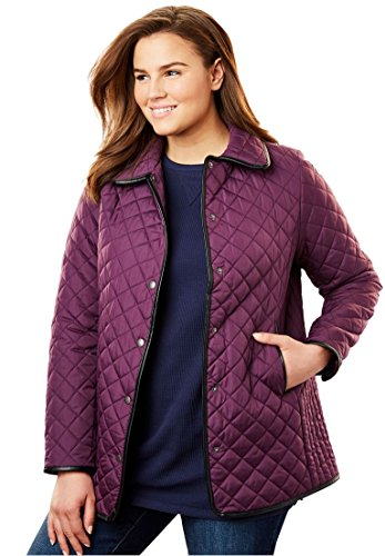 Women's Plus Size Light Quilted Snap-Front Jacket Orchid Purple,24 W ()