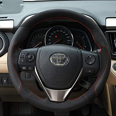 Soft Black Leather Steering Wheel Cover For Toyota Rav4 Corolla