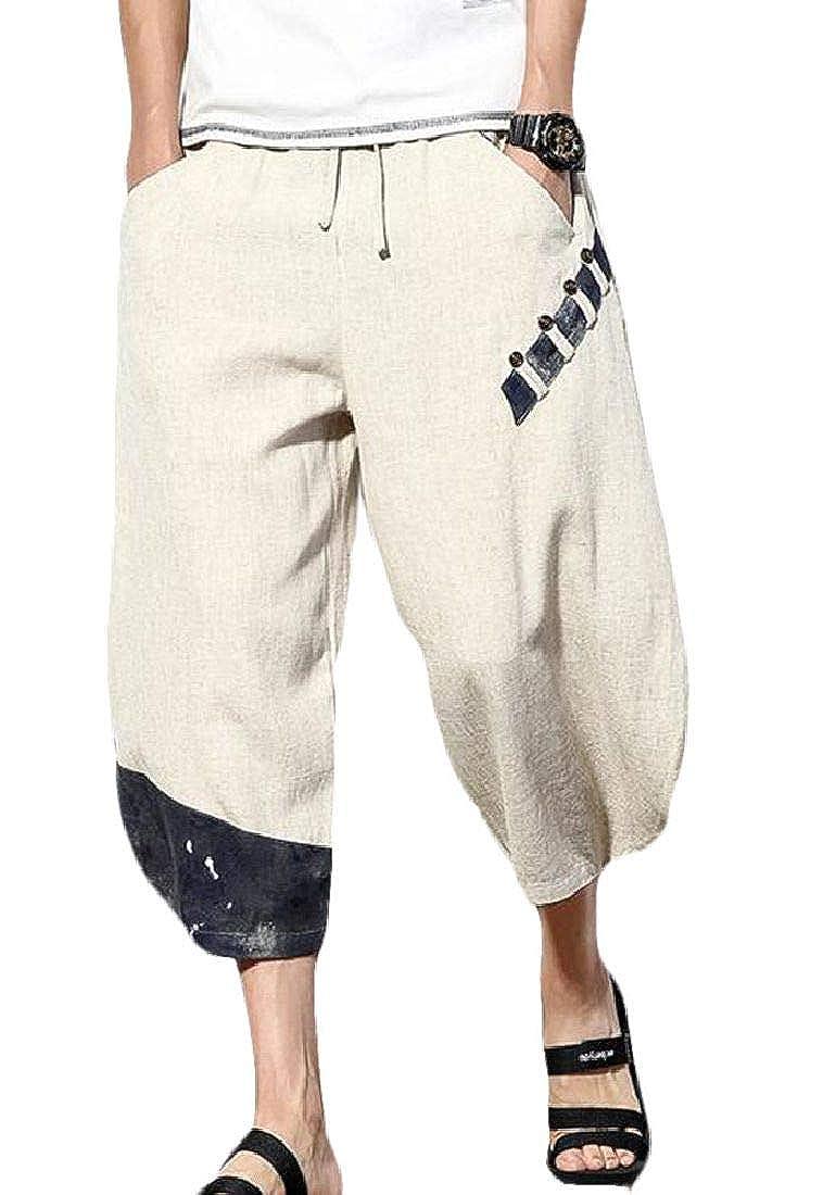 BLTR Men Beach Cotton Linen Plus Size Pockets Chinese Style Ninth Baggy Harem Pants