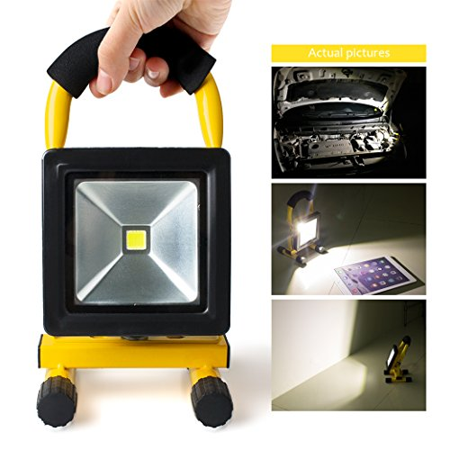 Morpilot LED Work Light, Waterproof Flood Lights Built-in Rechargeable Battery Portable Light for Outdoors Camping Emergency Light Workshop, Construction Site Garage, Garden, Lawn and Yard (4400mA) by Morpilot (Image #3)