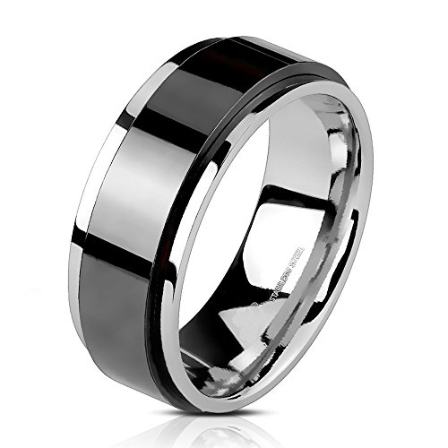 8 Mm Spinner Band - UNU Style CHOOSE Your Color Stainless Steel 6mm/8mm Spinner Band Ring (Black 6mm Width - Size 5)