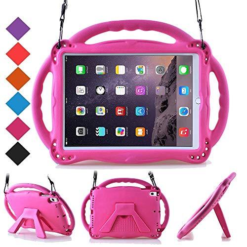 BMOUO Kids Case for New iPad 9.7 inch 2017/2018 - Shoulder Strap Shockproof Protective Handle Kickstand Case Cover for Apple iPad 9.7 inch 2018 (6th Gen) / 2017 (5th Gen) - Rose (Ipad Case Children)