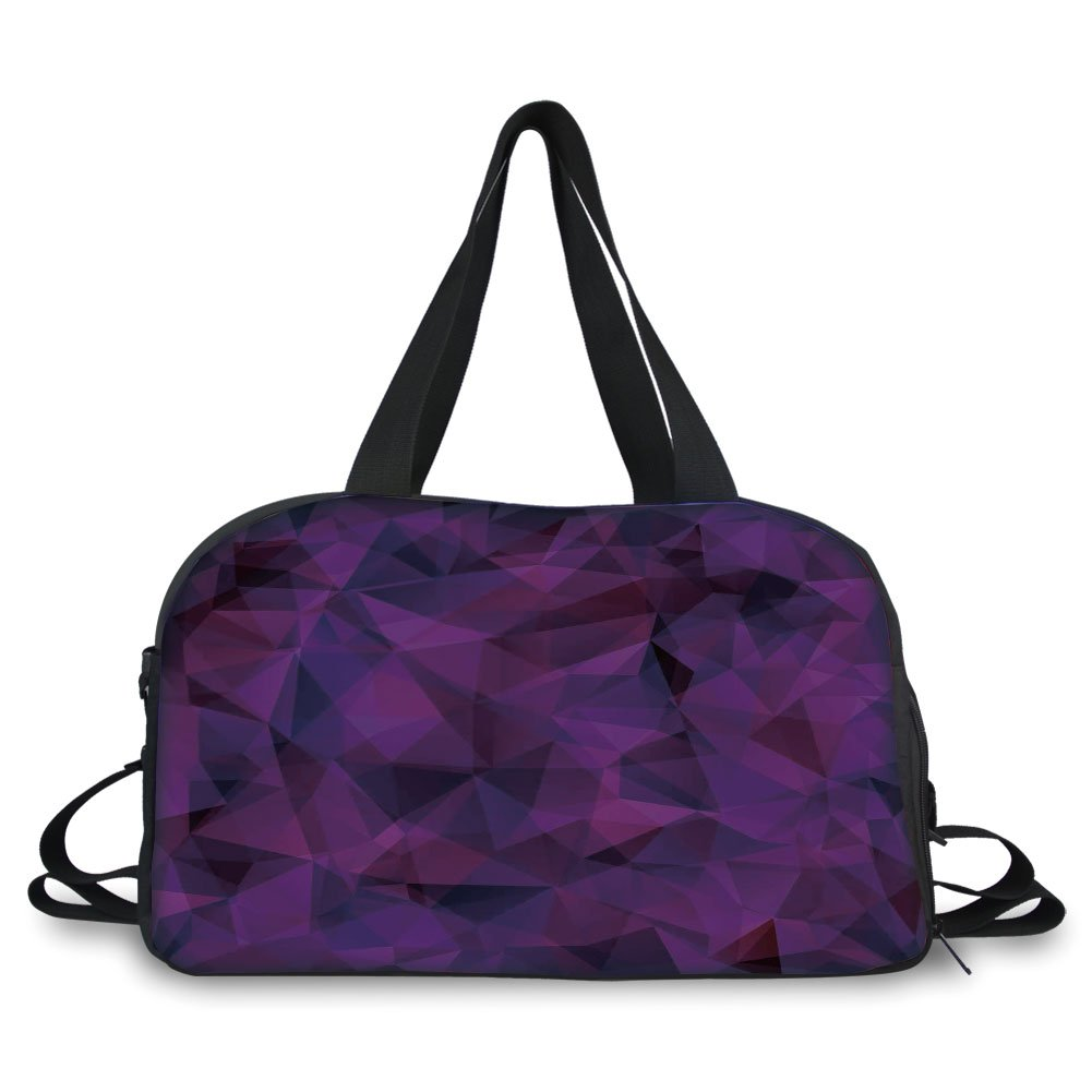 iPrint Travel handbag,Indigo,Broken Glass Inspired Geometric Triangle Abstract Shapes,Eggplant Purple Lilac and Burgundy ,Personalized
