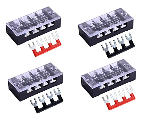 SamIdea 8pcs/ 4 Sets 4 Positions Dual Row 600V 25A Screw Pure Copper Terminal Strip Blocks with Cover + 400V 25A 4 Positions Pre-Insulated Terminal Barrier Strip ()