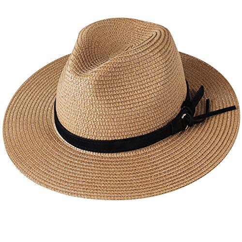 Womens Wide Brim Straw Panama Hat Fedora Summer Beach Sun Hat UPF (Style Khaki, - Adjustable Hat Band