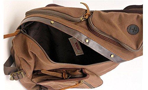 Carry all Canvas Bag Multi Shoulder Chest functional Crossbody Green Pinchu Pockets Men Lightweight Xvwq6wP