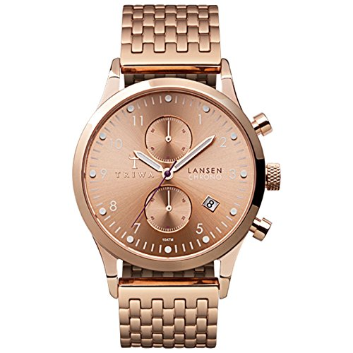 Triwa Unisex LCST104 Rose Lansen Chrono watch with Rose Gold Stainless Steel Brace Band