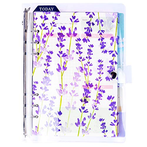 - Rancco A5 Loose Leaf Binder Filofax Notebook/Planner, Transparent 6-Ring Binder Covers + 45 pcs Insert Pages + 6 Index Divider Tabs + 1 Pcs Ruler + 1 Pcs Calendar, Refillable