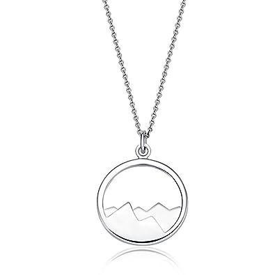 bd4d055ed78d3 Amazon.com: Silver Mountain Pendant Necklace - The mountains are ...
