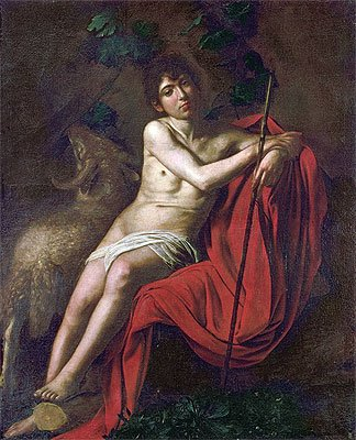 TOPofART Caravaggio (St. John the Baptist in the Wilderness, c.1610) Canvas Art Print Reproduction (28x22.5 in) (71x57 cm) (John The Baptist John In The Wilderness Caravaggio)