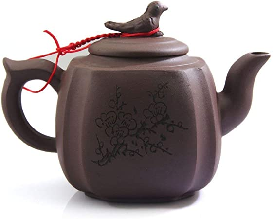 old Chinese Purple Clay zisha YIXING Pottery Teapot Hand Carved