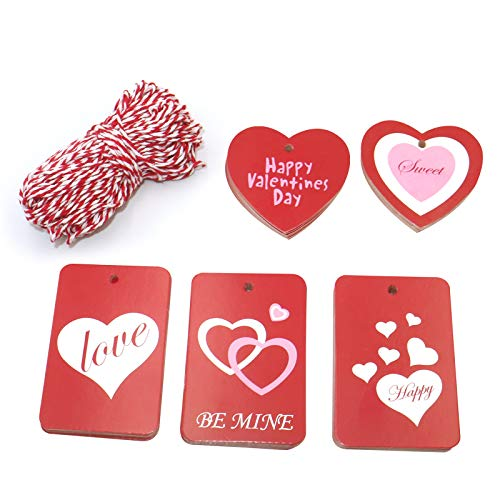 Gift Tags,Valentine Tags,100 Pcs Red Kraft Paper Tags with String for Valentine's Day,Wedding Party Gift Wrapping Labeling,5 Designs 2' Rectangle Paper Label