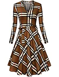 Women's V Neck Dresses Long Sleeve Botton Down Shirt Vintage Plaid Dress