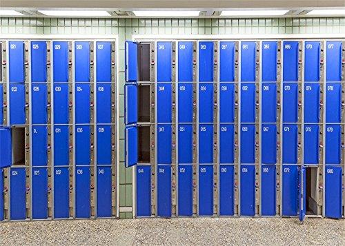 Leowefowa Vinyl 7X5FT Blue Locker Backdrop Numbers Abstract Wallpaper Photography Background Kids Adults Photo Studio Props