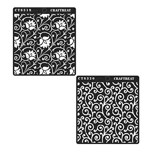 CrafTreat Stencil - Arabesque & Swirly Swirls (2 pcs) | Reusable Painting Template for Journal Home Decor, Crafting, DIY Albums, Scrapbook and Printing on Paper, Wall, Tile, Fabric, Wood ()