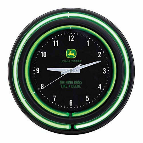 "John Deere Double Neon 15"" Wall Clock, Black Face"