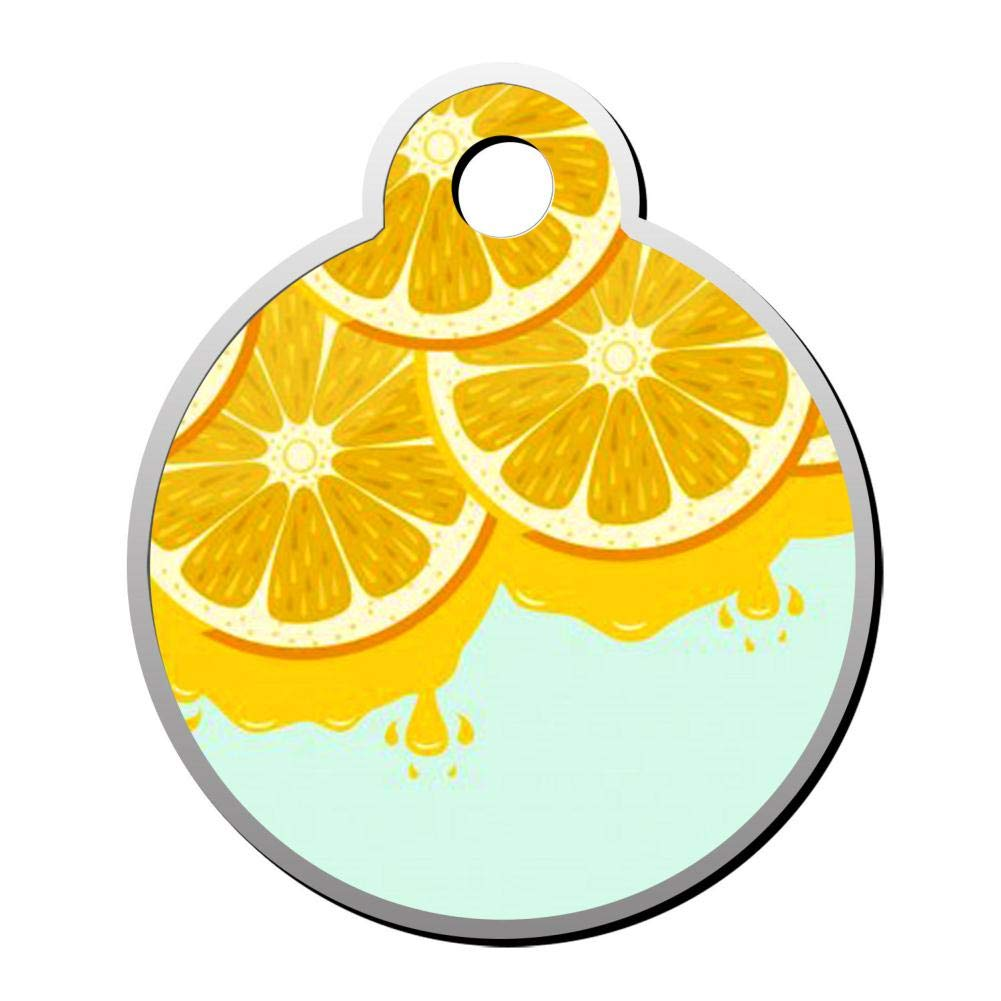 Customizable Round Shape ID Tags, Creative Lemon Juice Pattern ...