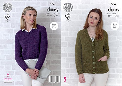 King Cole Womens Chunky Knitting Pattern Ladies Easy Knit Raglan Sleeve Cardigan & Sweater ()