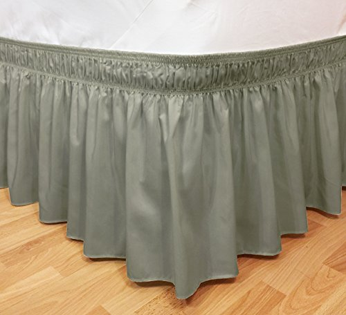 CT DISCOUNT STORE Elastic Ruffle Bed Skirt Easy Warp Around King/Queen Size, Bed Skirt Pins Included By (king/queen, (Discount King Size Beds)